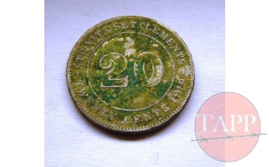 1919 20 cents Coin Straits Settlement