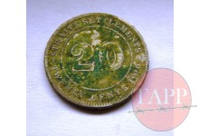 1919 20 cents Coin Straits Settlement