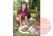 Jingyi Zhang showing the range of material recovered from the pit